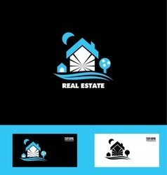Real estate blue house logo icon vector