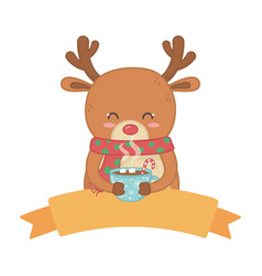 reindeer with scarf holding chocolate cup vector image