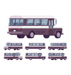 retro bus black-white set vector image
