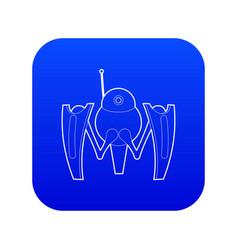 Robot crab icon blue vector