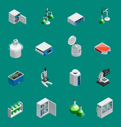 scientific laboratory equipment isometric icons vector image