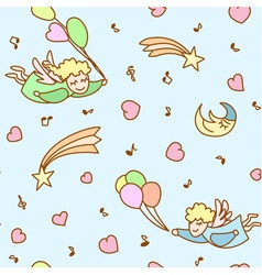 Seamless pattern made from cartoon angels vector image