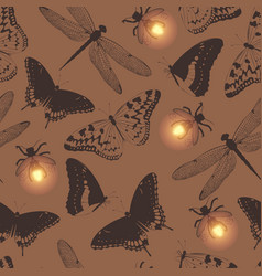 Seamless pattern with butterfly and firefly vector
