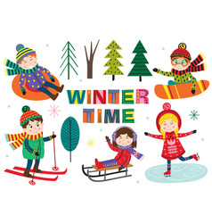 Set of isolated winter time with kids part 1 vector