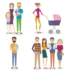 Set people with family and kids on an isolated vector