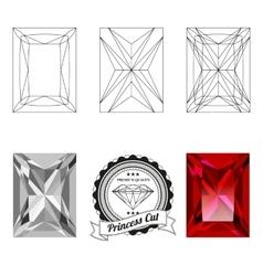 Set princess cut jewel views vector