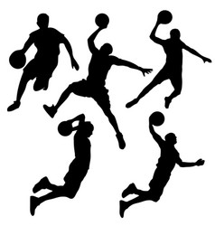 silhouette a basketball player set vector image