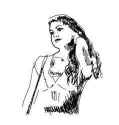sketch a beautiful girl vector image
