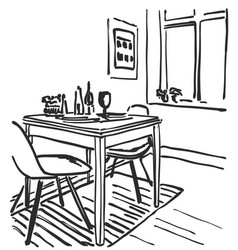 Sketch of modern interior table and chairs vector