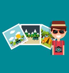 smiling man travel vacation camera photo gallery vector image