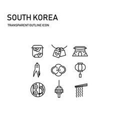 south korea icon design with transparent thin line vector image