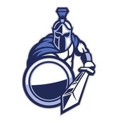 Spartan mascot with shield and the sword vector