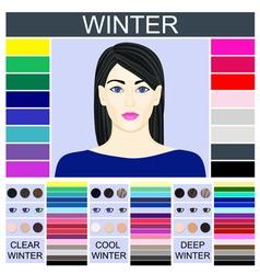 Stock set three winter types female vector