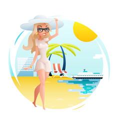 sunny beach cute happy girl walk planning summer vector image