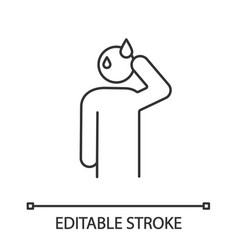 Sweating man linear icon vector