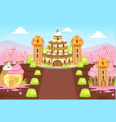 Sweet candy land fairy tale landscape vector
