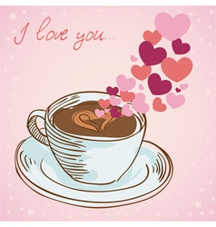 Tasty coffee cup greeting card vector