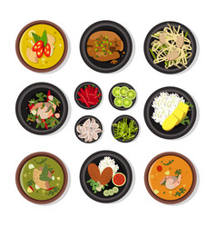 Thai food icons vector