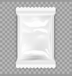 Transparent white food snack plastic pillow bag vector
