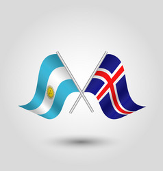 Two crossed argentine and icelandic flags vector
