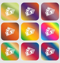 Us dollar icon Nine buttons with bright gradients vector image