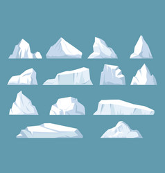 varieties icebergs set geometric floating shape vector image