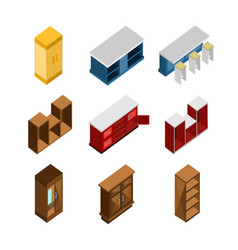 various modern house furniture isometric vector image
