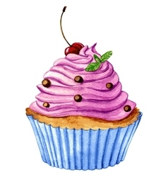 Watercolor cupcake vector