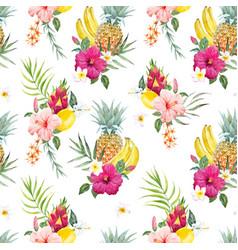Watercolor tropical pattern vector
