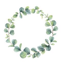 Watercolor wreath with eucalyptus branches vector