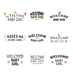 Welcome baby girl Baby girl arrival postcards Set vector image