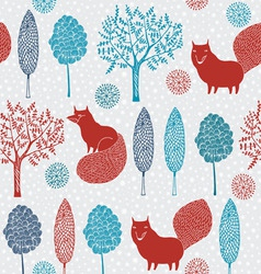 Wild fox in a snowy forest Seamless pattern vector image