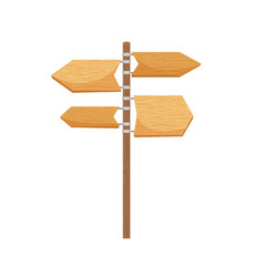 Wooden way direction cartoon sign vector