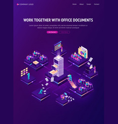 work with documents isometric landing page banner vector image