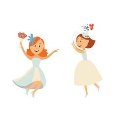brides throwing bouquet dancing set vector image vector image