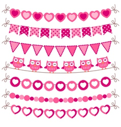 Bunting and garland pink set vector image vector image