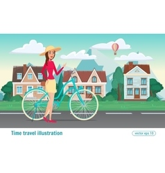 Fashion girl rides a bicycle the streets of the vector image