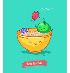 funny cartoon Fruit diet Porridge and vector image