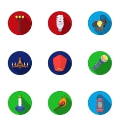 Light source set icons in flat style Big vector image vector image