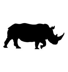 rhino black silhouette vector image