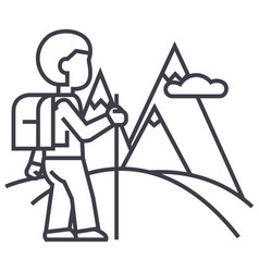 travellerhiking line icon sign vector image