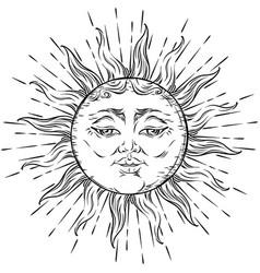 Antique style hand drawn art sun boho chic tattoo vector