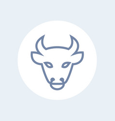 bull head line icon outline isolated on white vector image