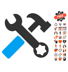 hammer and wrench icon with dating bonus vector image vector image