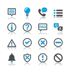 Information and notification icons reflection vector image