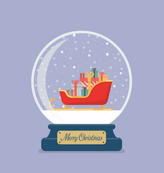 merry christmas glass ball with santa sleigh vector image