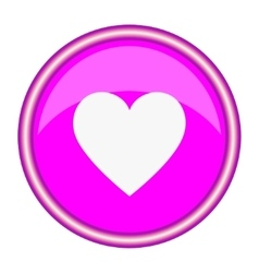 Round pink icon with a white heart vector image vector image