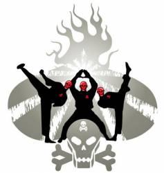 skeleton Kung-Fu fighter vector image
