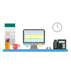 workplace with a computer and office inventory vector image