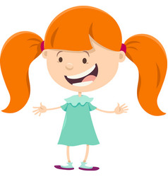 girl with pigtails cartoon character vector image vector image